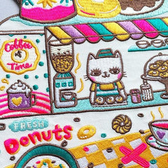 Coffee and donuts XL Iron on Patch