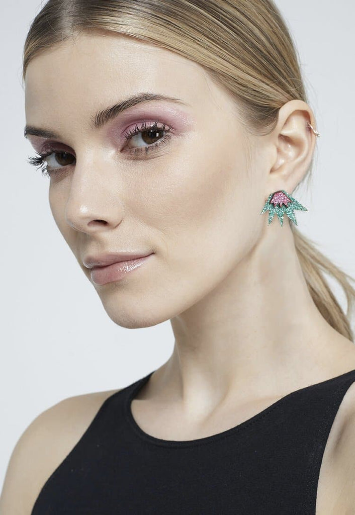 Bang Bang Mini Stud Earrings - Jade & Pink Jewellery - Earrings Kam Creates for We Built This City 2
