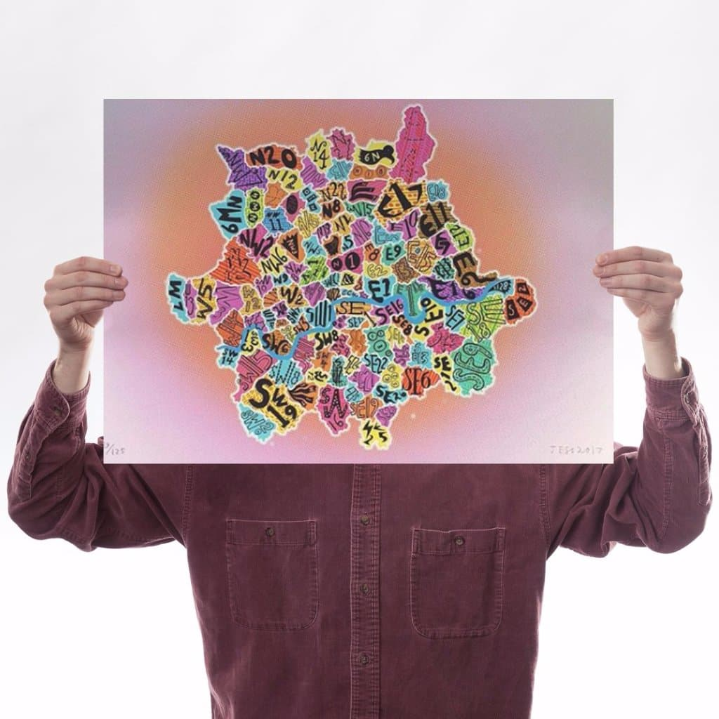 London's Colourful Postcodes Art Map Jess Wilson for We Built This City 1