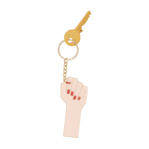 Oversized Girl Power Keyring (White)