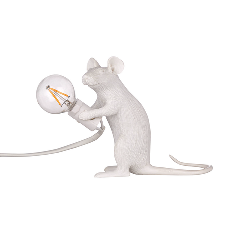White Mouse Lamp - Sitting
