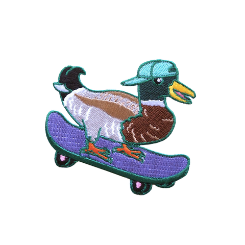 Skateboarding Mallard Iron On Embroidered Patch