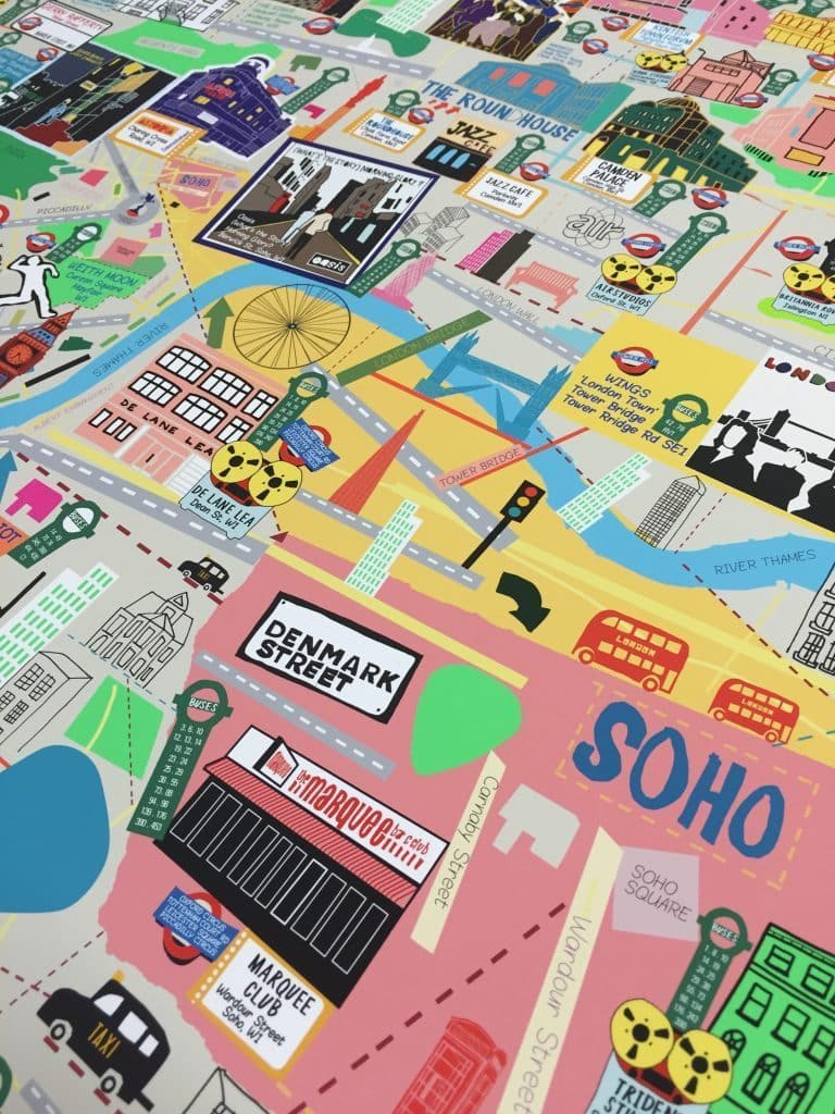 London Music Map (A3) Art Map Nick Faber & RUDE for We Built This City 4