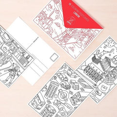Set of 16 Colouring Postcards