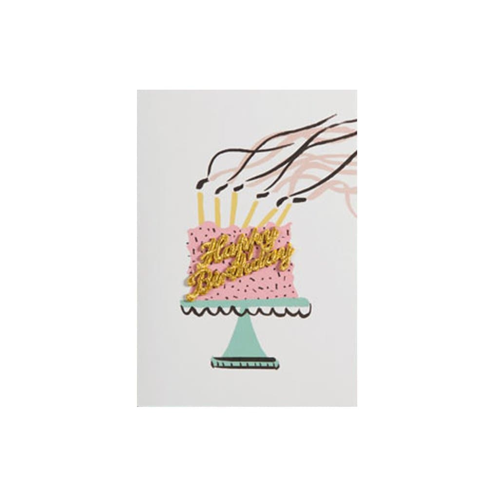 Happy Birthday Embroidered Gold Cake card