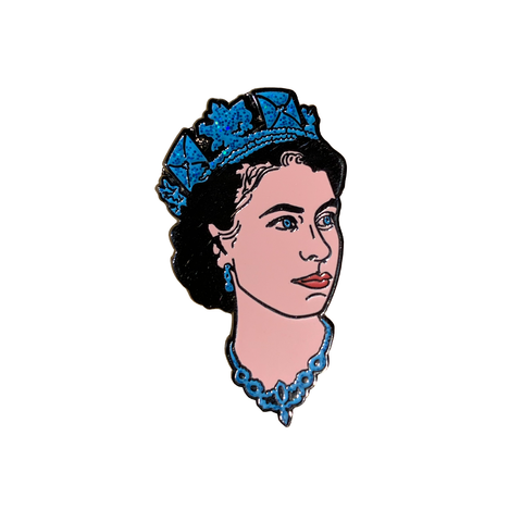 Queen Elizabeth Enamel Pin (Blue)