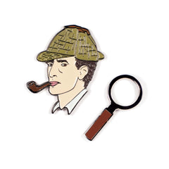 Sherlock Holmes & Magnifying Glass Enamel Pins Pins & Patches Unemployed Philosophers Guild for We Built This City 1