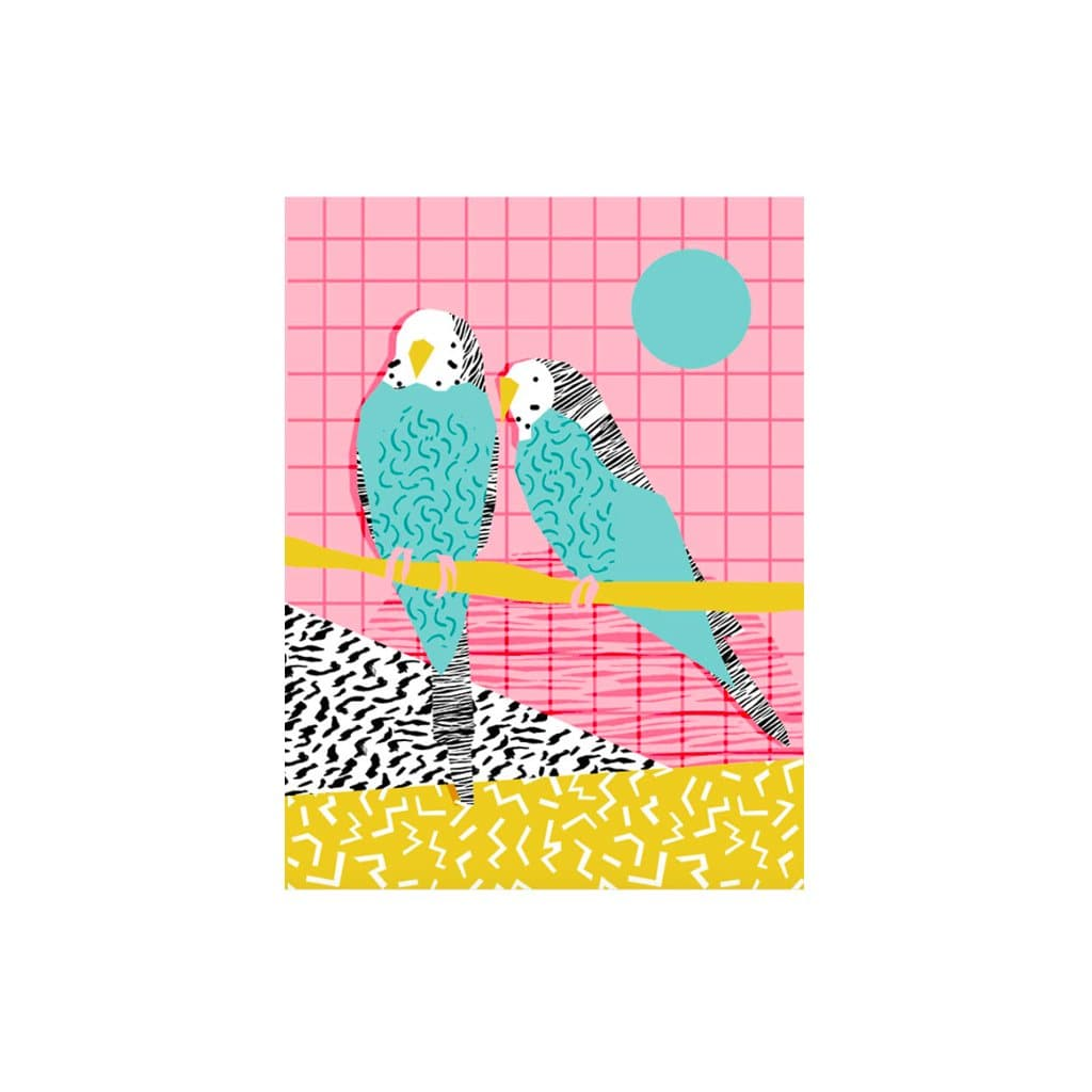 Budgies on Pink card