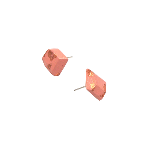 Metallic Pink Stud Earrings