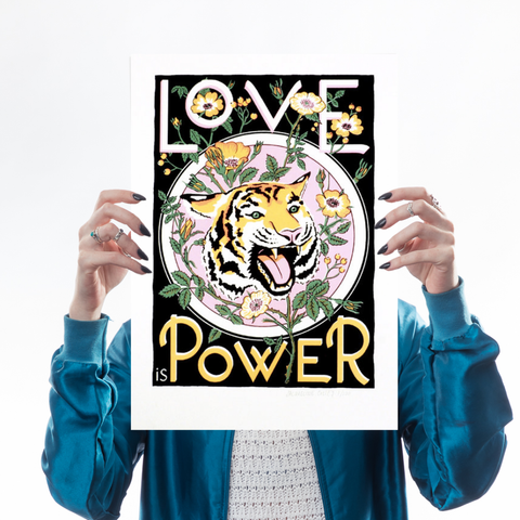 Love is Power (Black Screen Print)