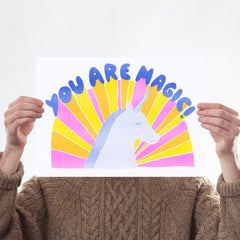 You Are Magic Risograph Art Typography Yellow Owl Workshop for We Built This City 1