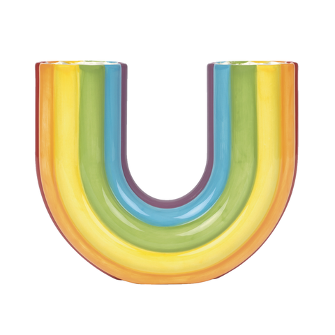Ceramic Rainbow Curved Vase