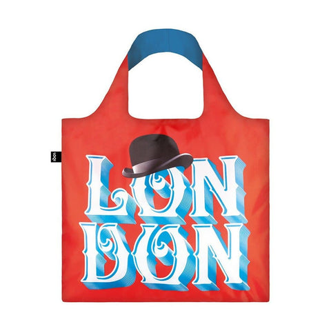 Red London Typographic Fold Away Bag