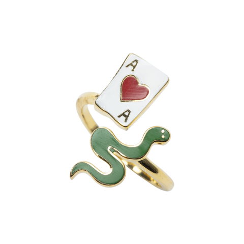 Ace of Hearts & Snake Ring in Glass Bottle