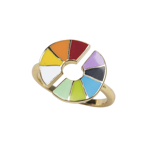 Colour Wheel Ring in Glass Bottle