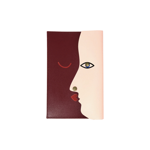 Kissing Clutch Small (Dark Red & Pale Pink )