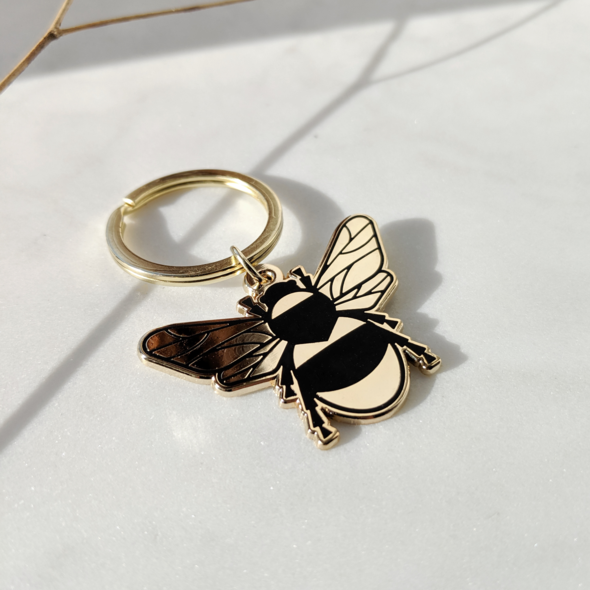 Gold Bee Enamel Keyring Travel Accessories - Keyrings Moonlit Press for We Built This City 1