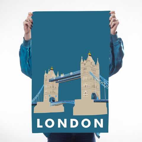 Navy London Tower Bridge Teatowel
