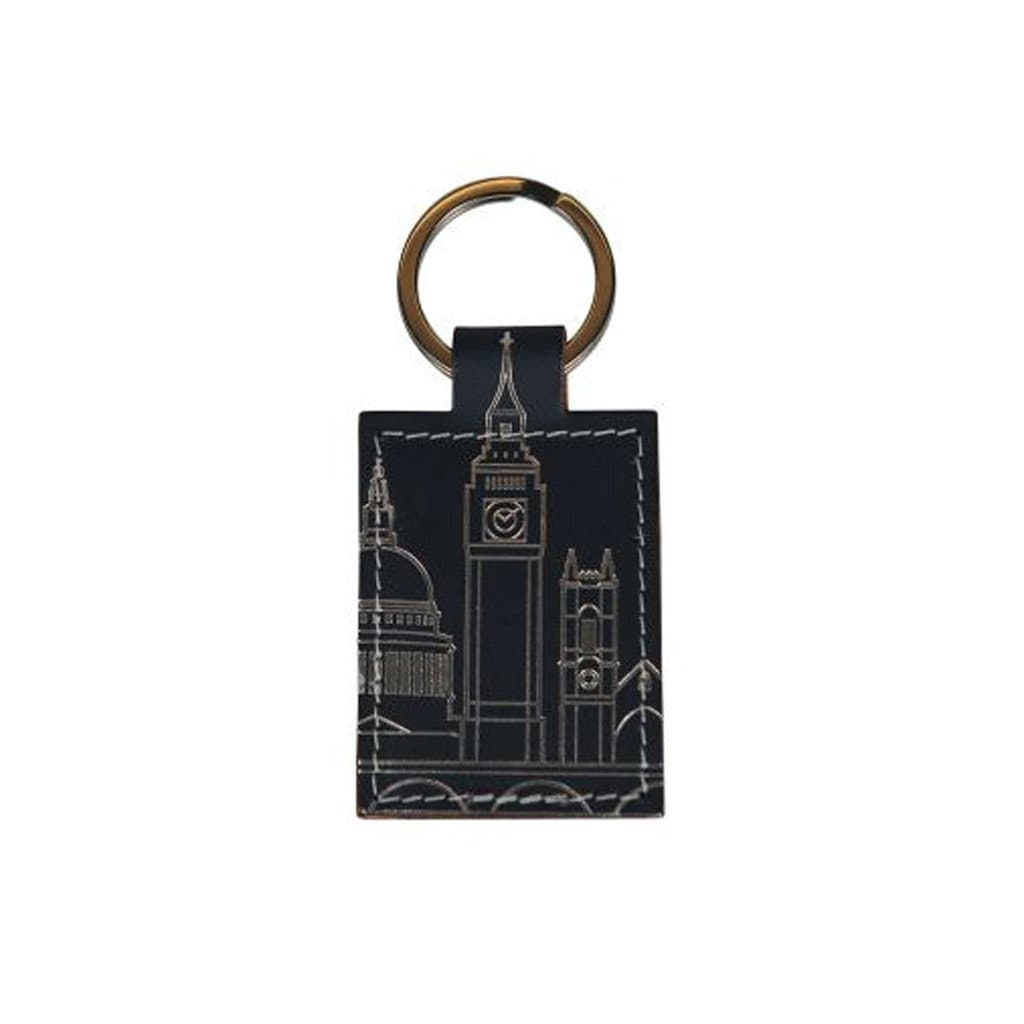 London Skyline Leather Keyring