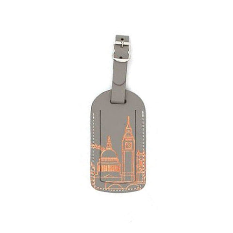 London Skyline Leather Luggage Tag