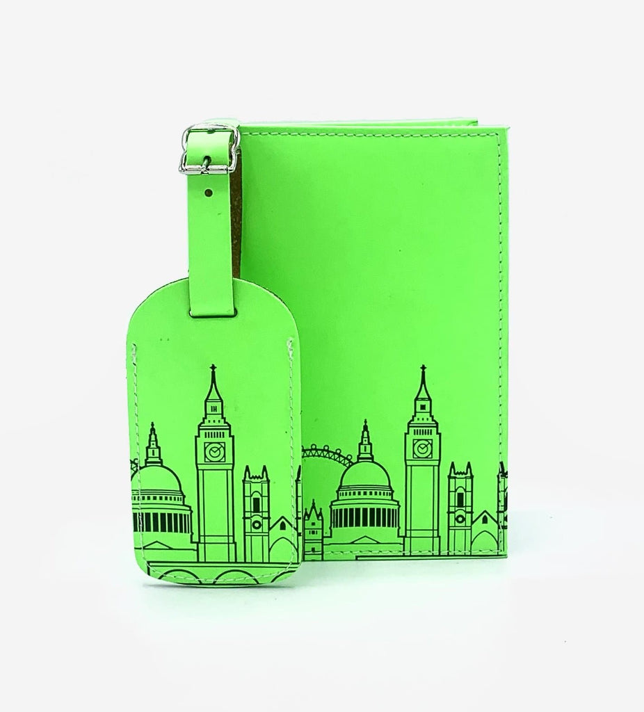 Leather Skyline Passport Cover Green