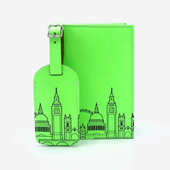 Leather Skyline Passport Cover Green Travel Accessories - Passport Holders UnderCover for We Built This City 2