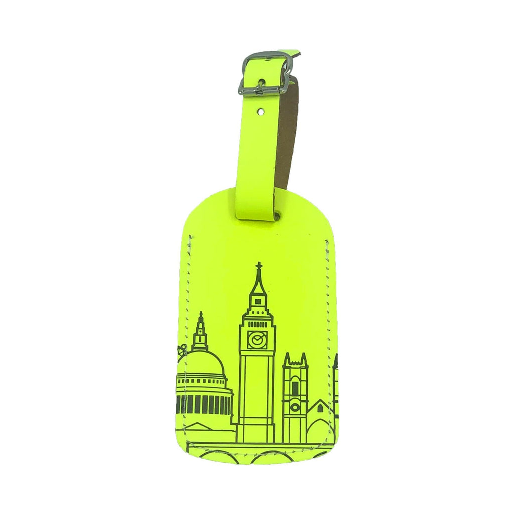 Leather Skyline Luggage Tag Yellow