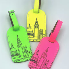 Leather Skyline Luggage Tag Yellow Travel Accessories - Luggage Tags UnderCover for We Built This City 3
