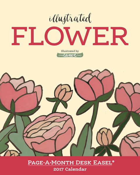 Illustrated Flower Page-A-Month Desk Easel Calendar 2017