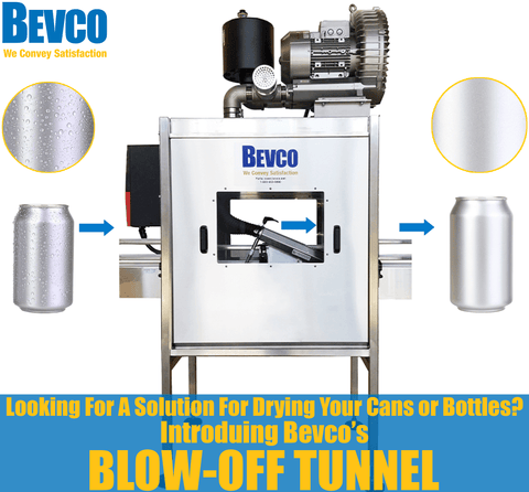 Wet Cans or Bottles Causing Your Packaging Line Problems? Bevco's Air Knife Tunnel Got You Covered!