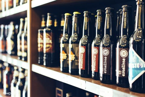 Beer bottles on shelf