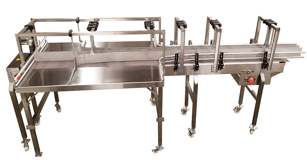 Bevco Mix Pack Tables integrate with packaging lines to produce diversified mix pack products