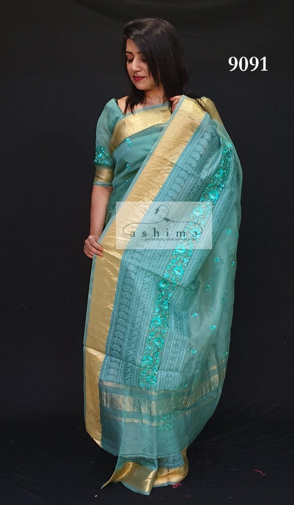Embroidered Organza Saree 9091