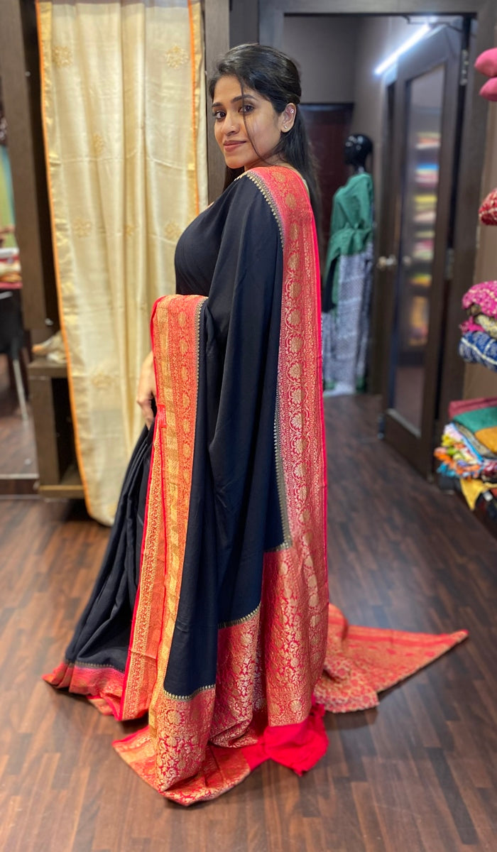 Crepe silk saree 13743