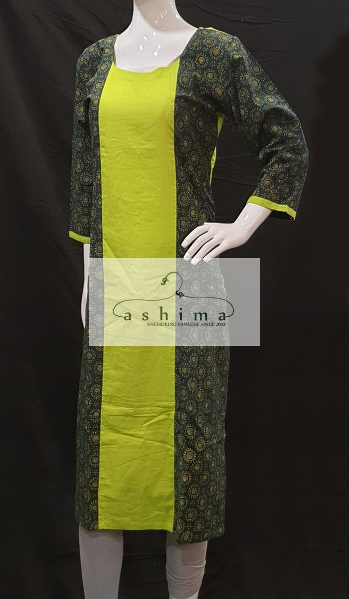 Ajrakh and cotton kurti - Medium - Kurti 40