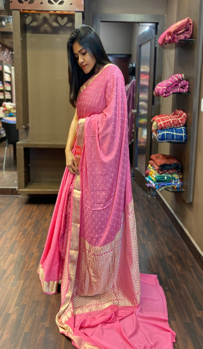 Crepe silk saree 13195