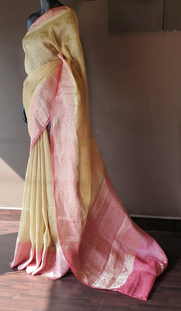 Linen silk saree 12855