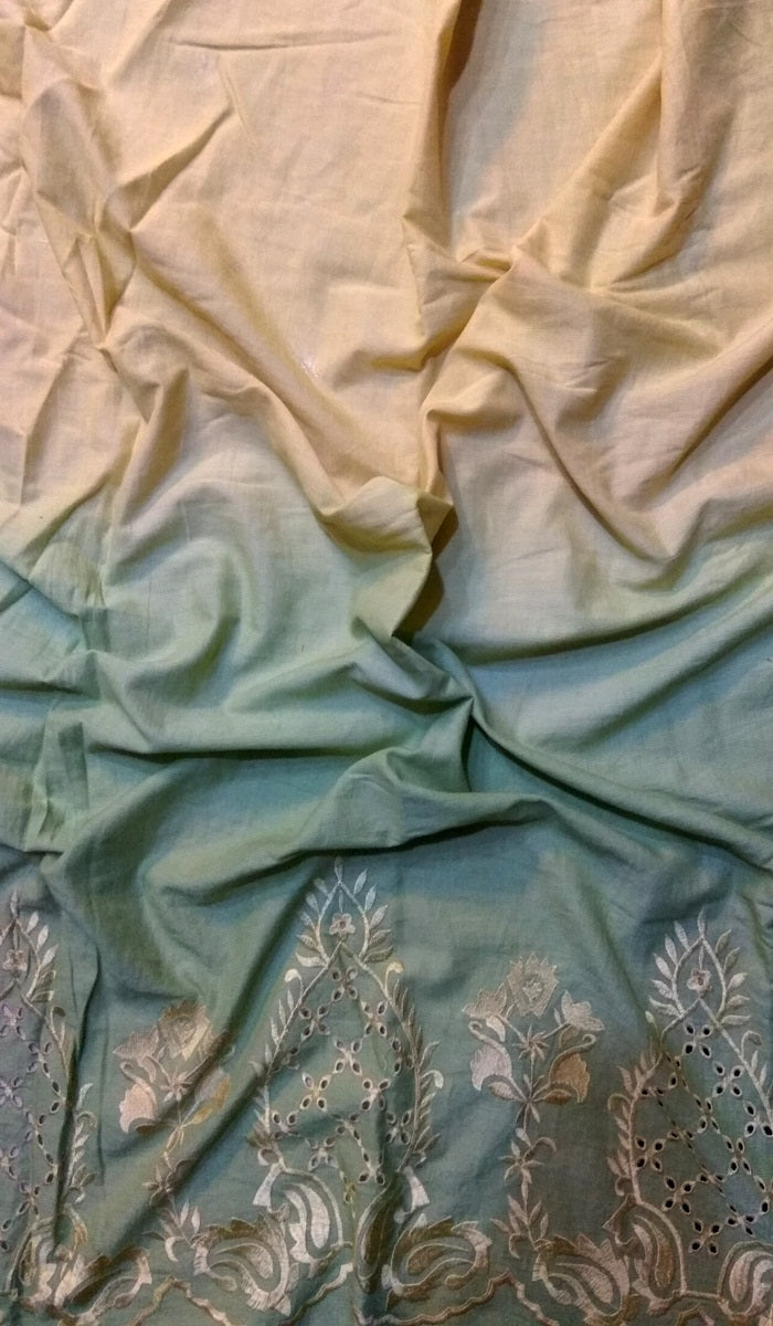 Embroidered Double-shade Cotton Fabric FBK58