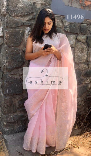 Powder Pink Organza Saree with gota patti  11496