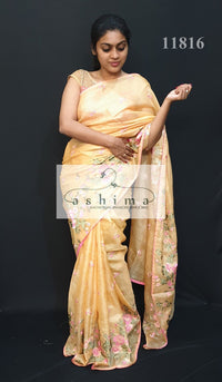 Tussar Kota saree with floral embroidery 11816