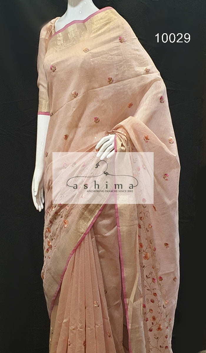 Semi linen saree  10029
