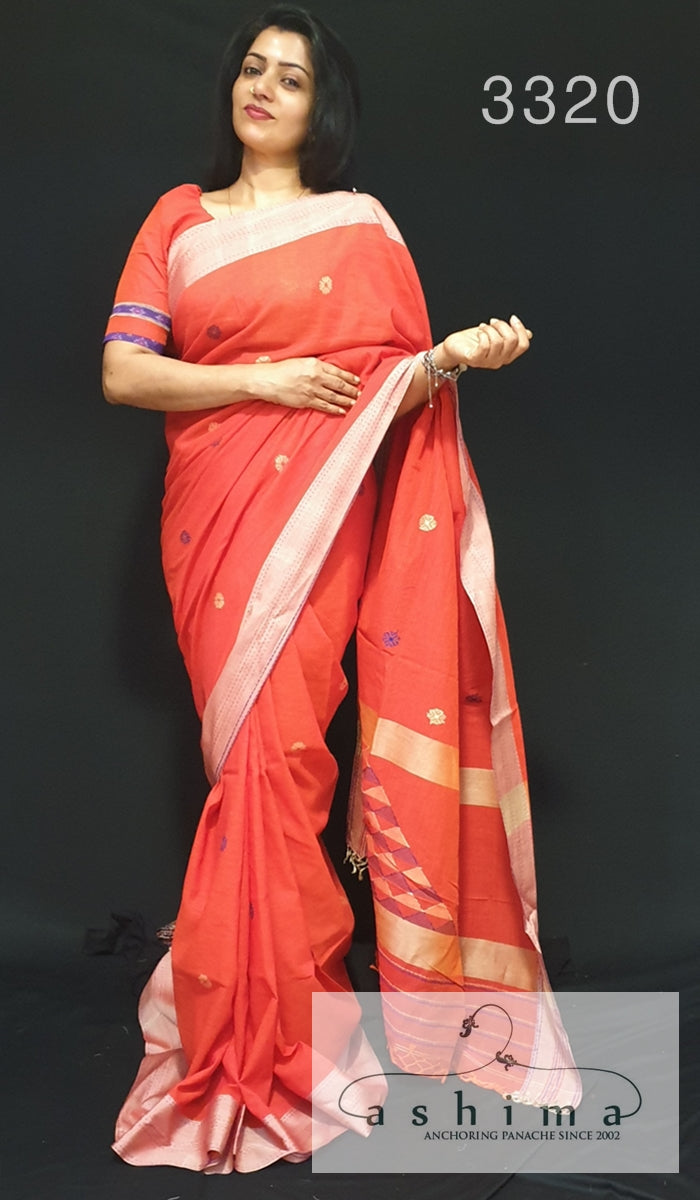 Hand-Loom Cotton Saree 3320
