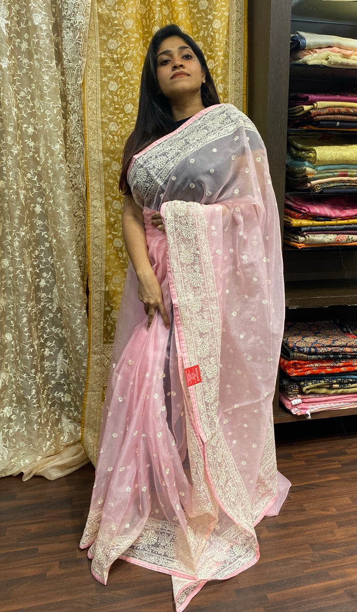 Semi organza saree 14447