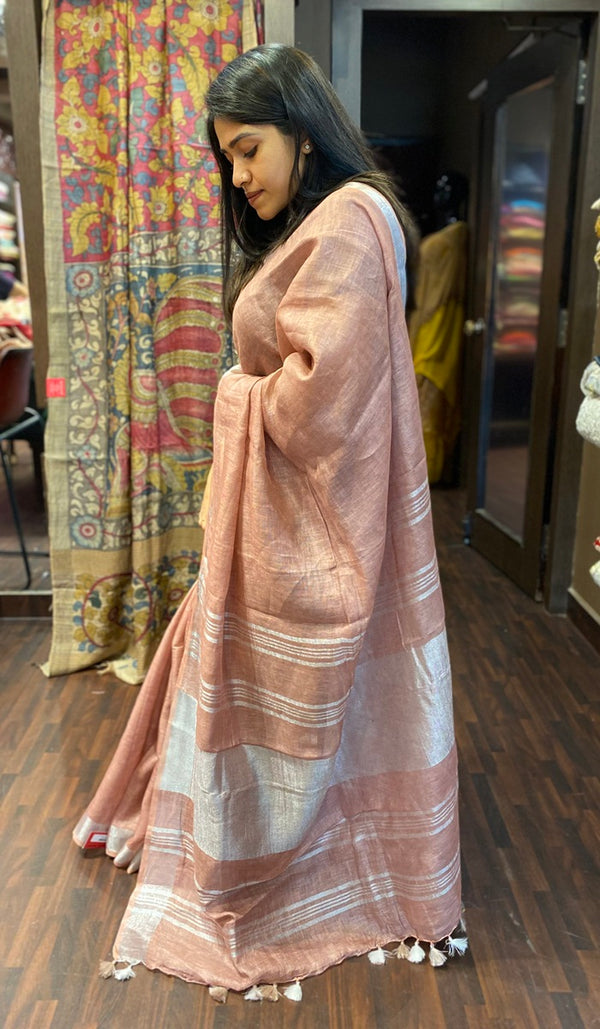 Semi linen saree  13900