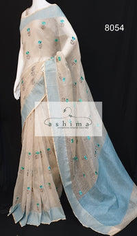 Semi linen saree  8054