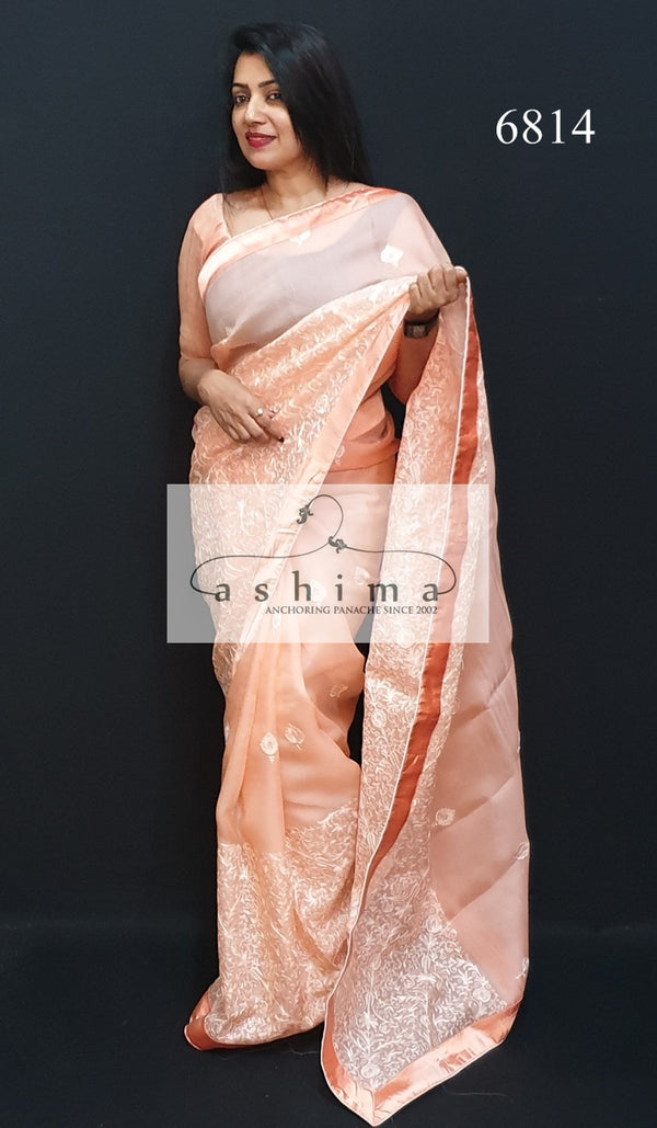 Embroidered Organza saree 6814