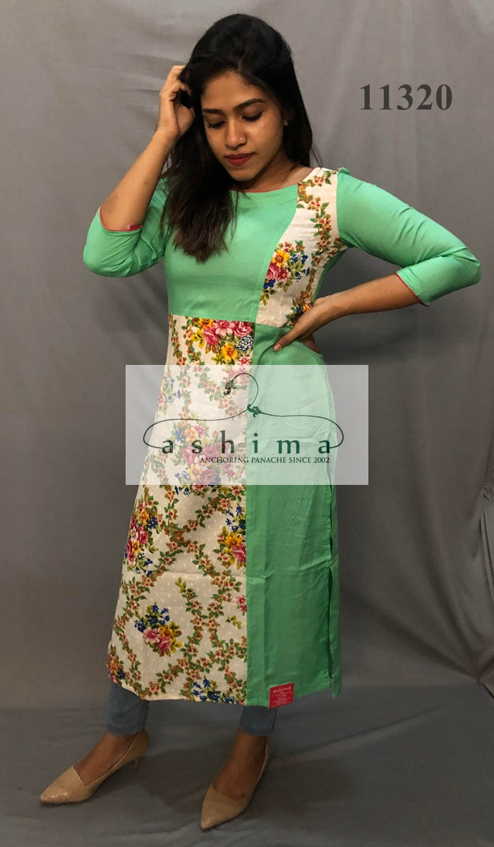 Printed cotton and rayon kurti  11320