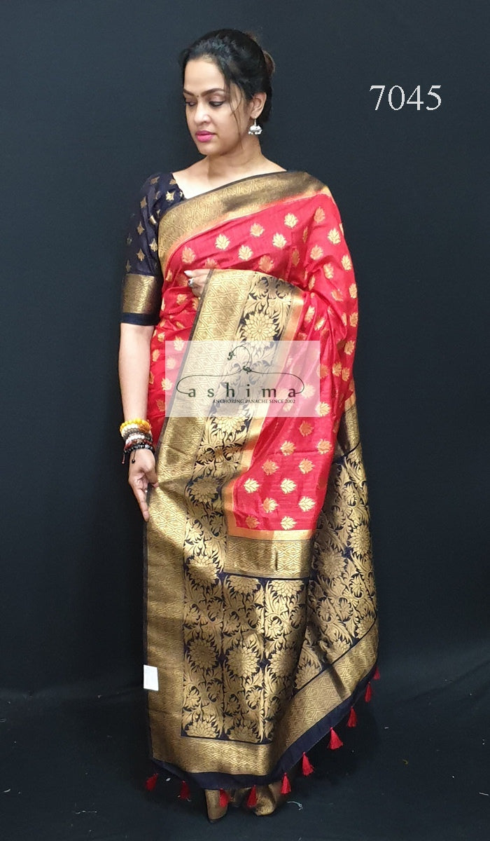7045 Semi Banarasi Saree