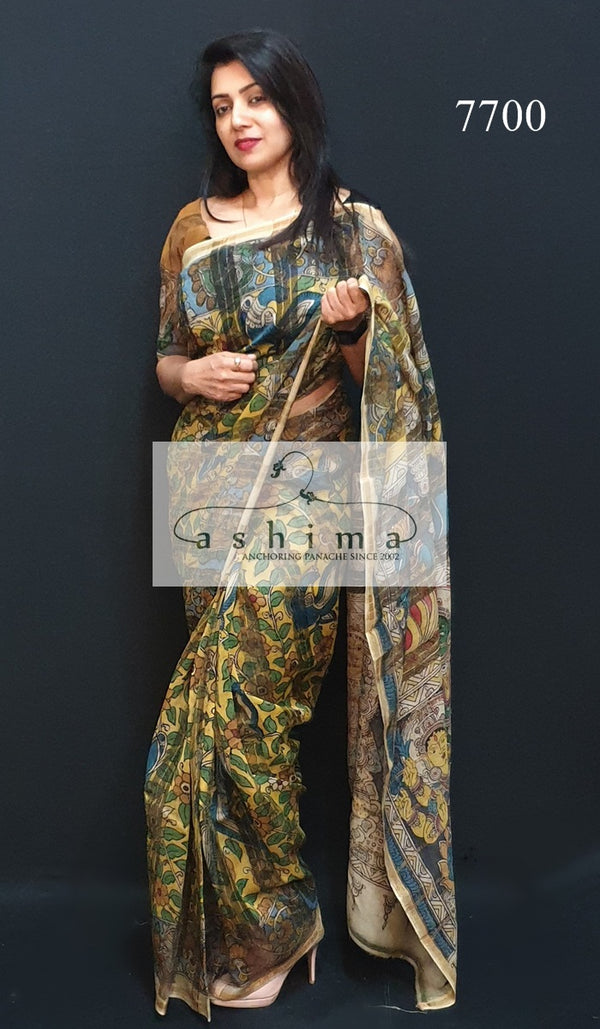 Organza And Tussar Saree 7700