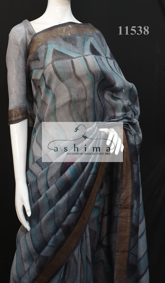 Linen silk saree 11538